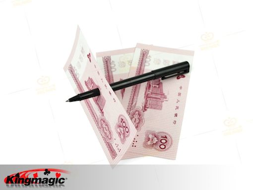 Plastic Pen Penetration - pen through dollar (Thick)