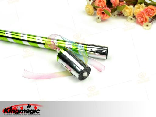 Appearing Cane - Bright Green & Silver Plastic 90CM