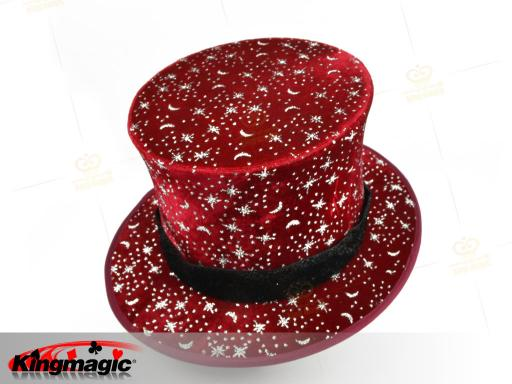 Folding Top Hat - Stars and the Moon (Red)